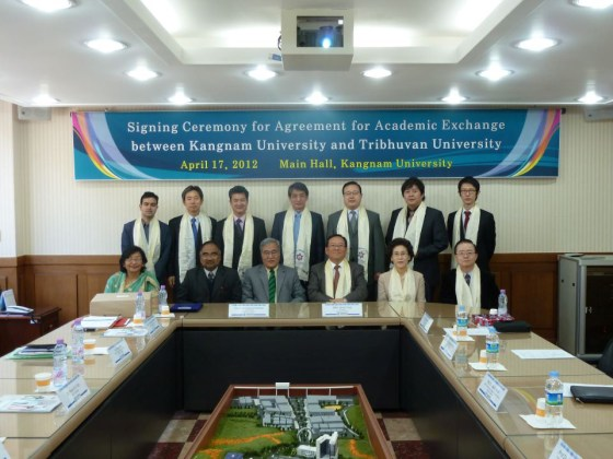 Signing ceremony for Agreement for Academic Exchange between Kangnam University and Tribhuvan University (PHOTOS: Nam Sang-hyeok)