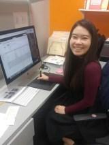 Kangnam University graduate Sodam Park works in her office at UEC in Cerritos, California. Photo courtesy of Sodam Park