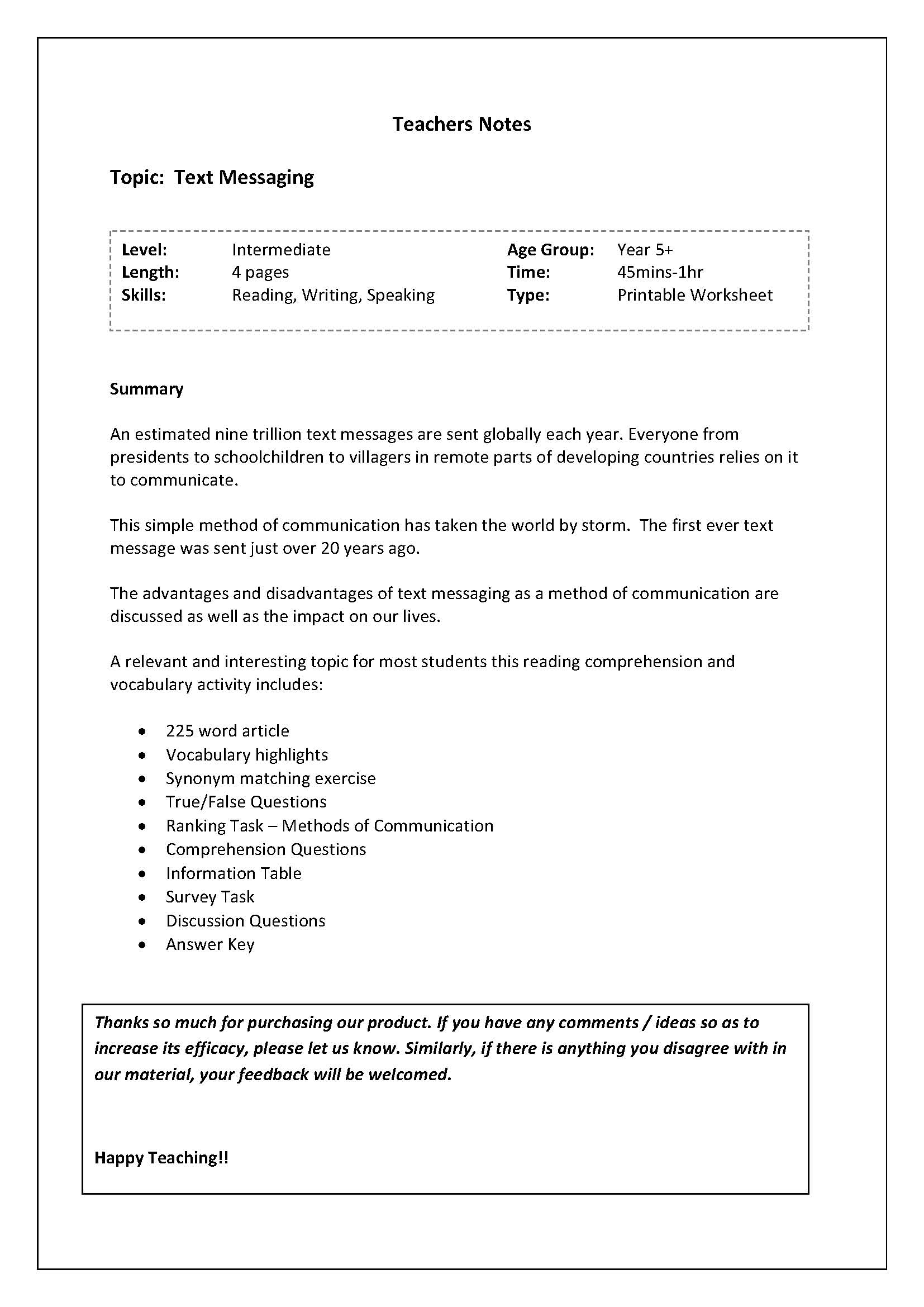 Reading And Vocab Worksheet Brief History Of Text Messagingenglish Jobs Turkey