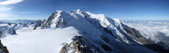 Mont Blanc's summit at 4,810 m above sea level