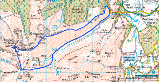 Route Map for Grisedale Pike ascent from Braithwaite