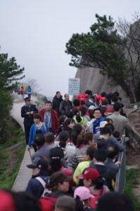 Chinese Tourists at Huangshan Mountain Range