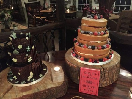 Donated wedding cake and actual naked cake side by side