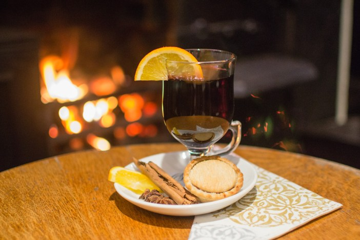 Warm Wild Boar Mulled Wine with a fresh mince pie by a roaring log fire at the Inn