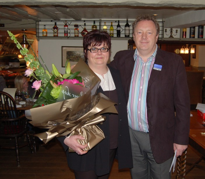 Maria and Simon Berry celebrating 25 years of service at The Wild Boar