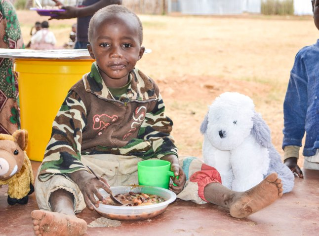 Sam teddy at the Open Arm's Village in Kenya