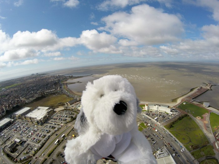 Sam at the start of his journey with The Midland and Morecambe Bay in the background