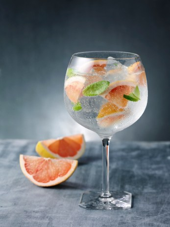 Martin Miller's Gin G&T perfect serve with Grapefruit & Basil / Martin Miller's Gin