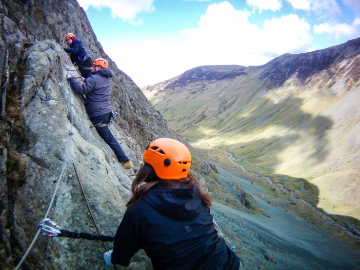 Honister Pass snaking below the Via Ferrata