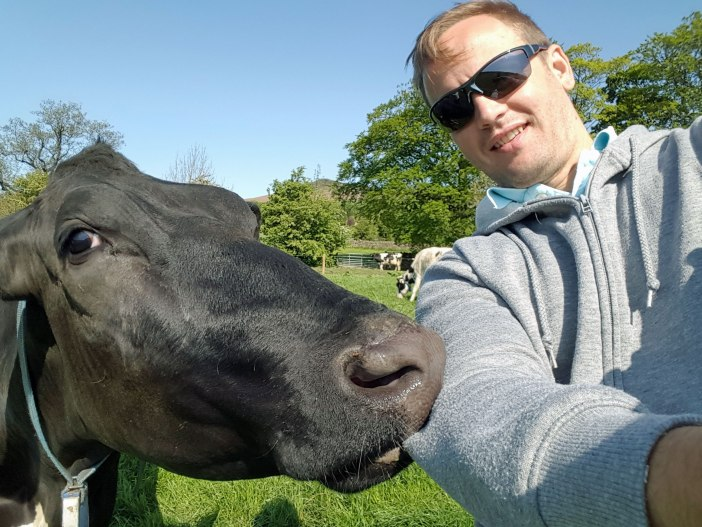 Gary captures a selfie with his new bovine friend
