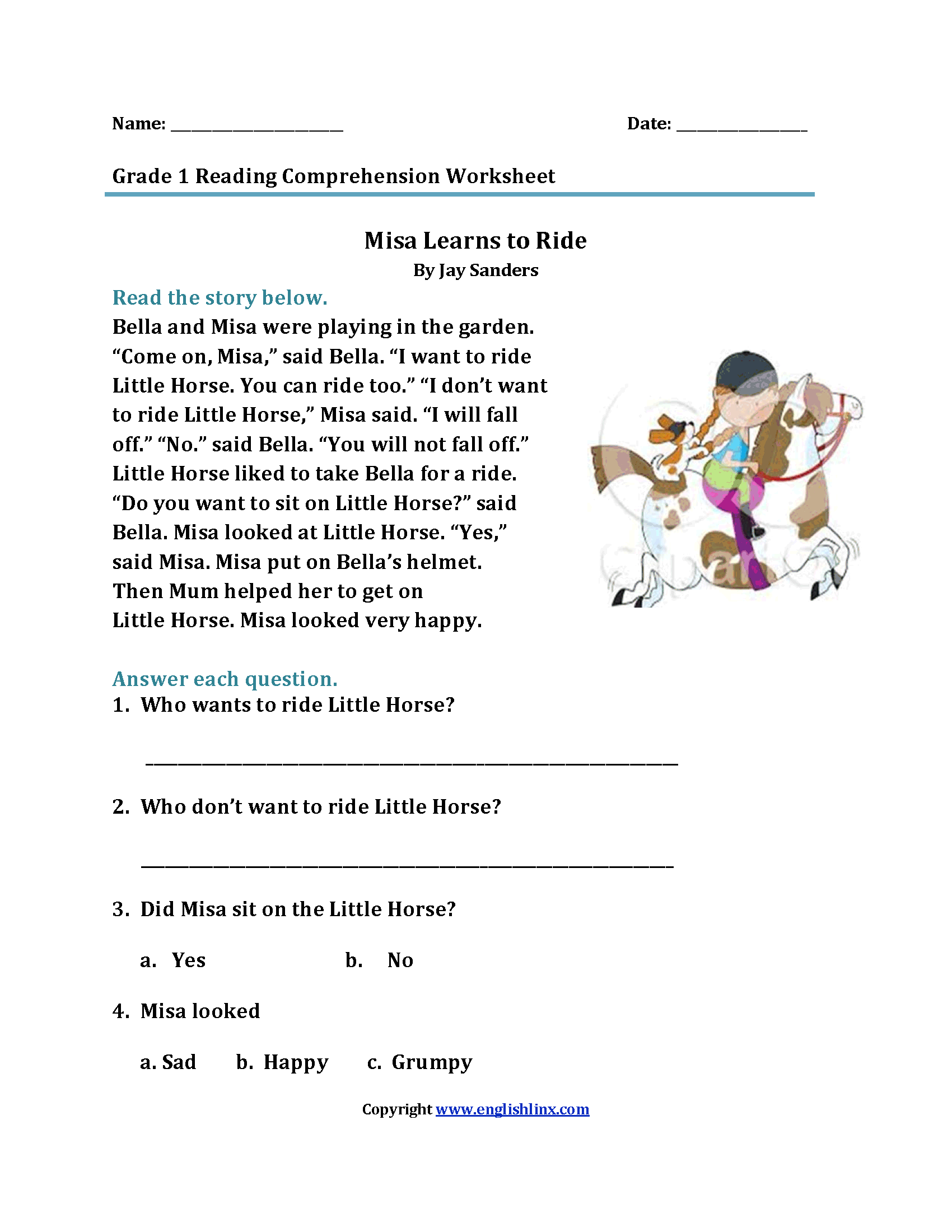 Reading Worksheets For 1st Grade