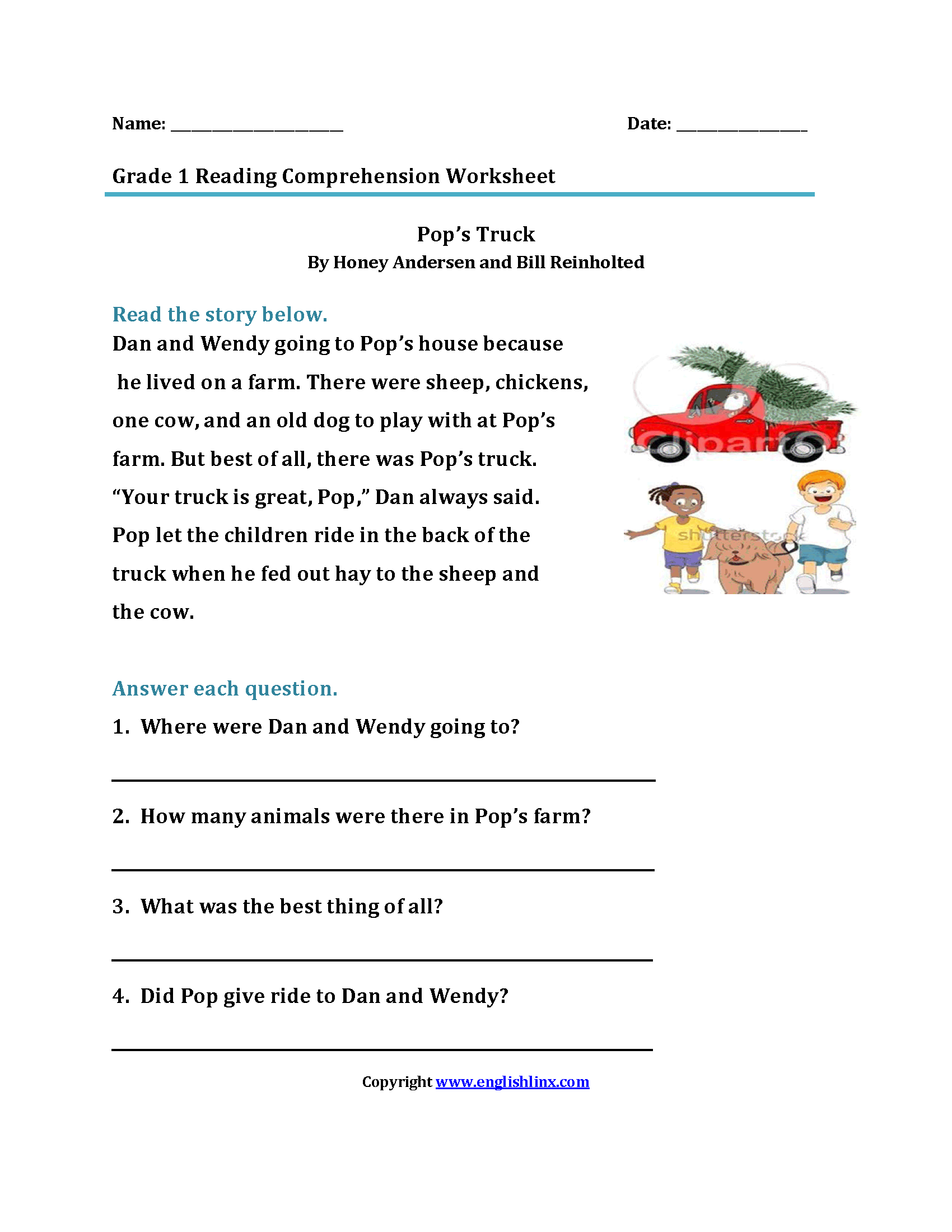 Printables Of Reading Comprehension Stories For 1st Grade