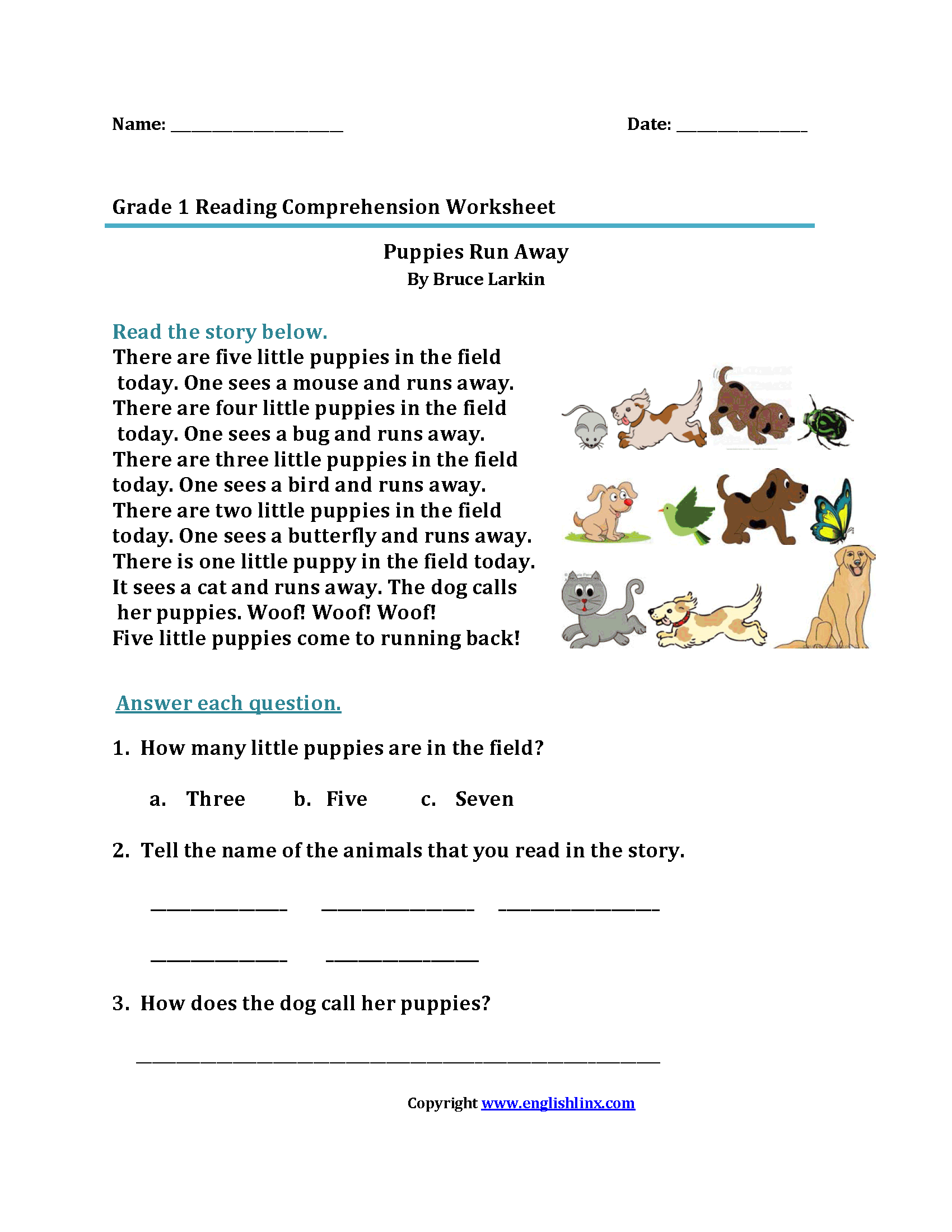 Large Print Reading Worksheets