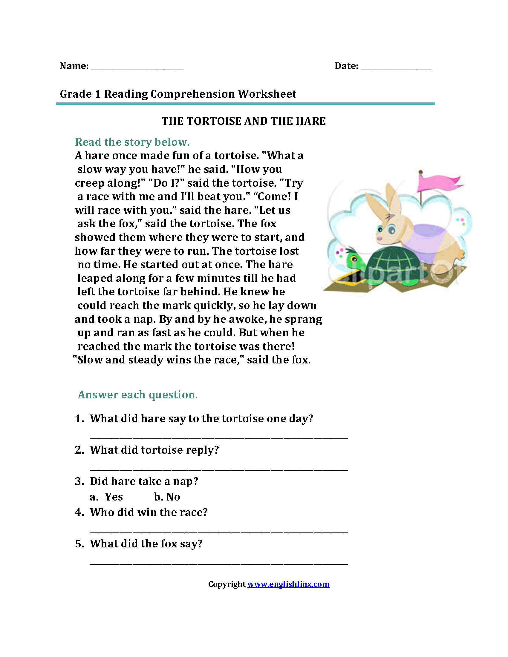 The Tortoise And Hare Worksheet For Preschool The Best