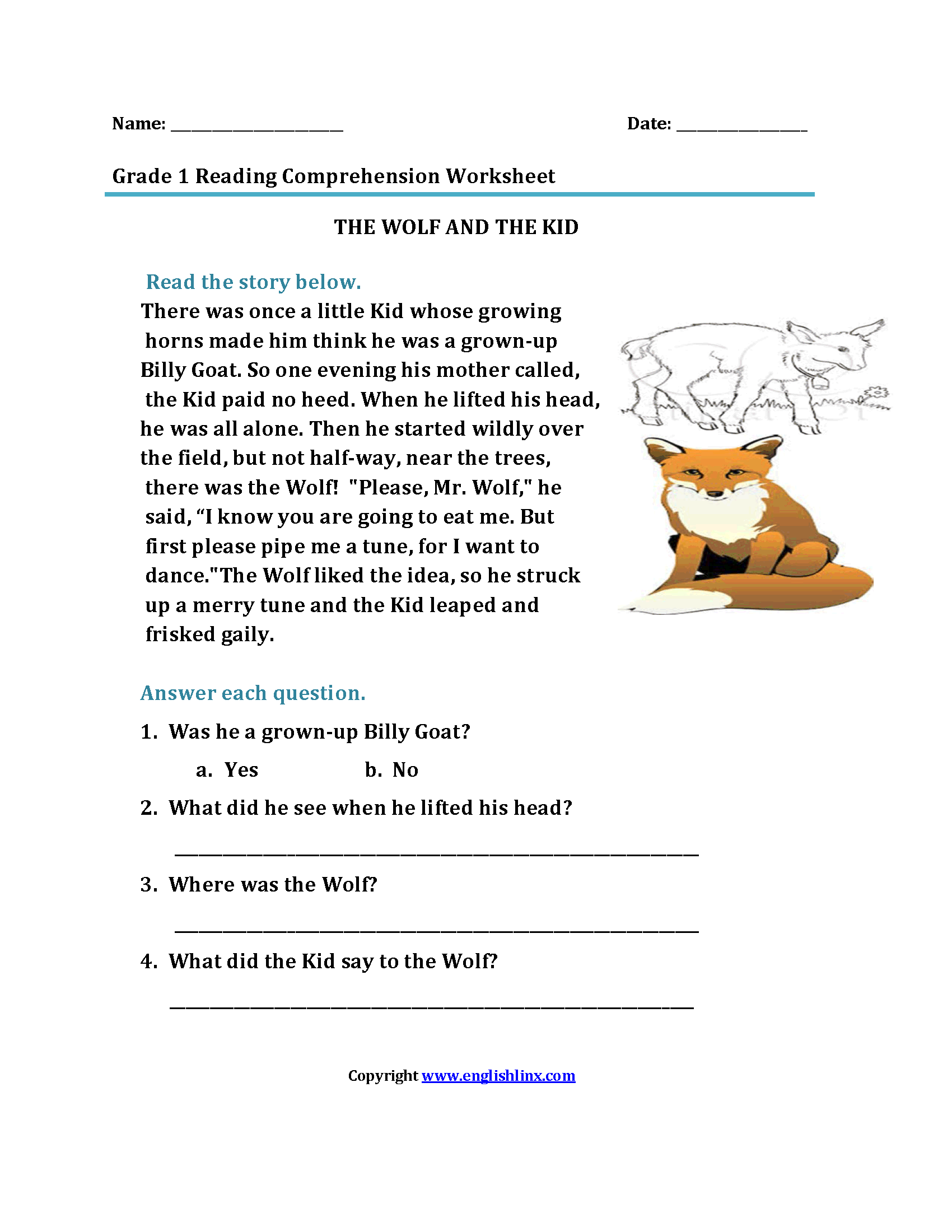 Nifty Free Printable First Grade Reading Comprehension