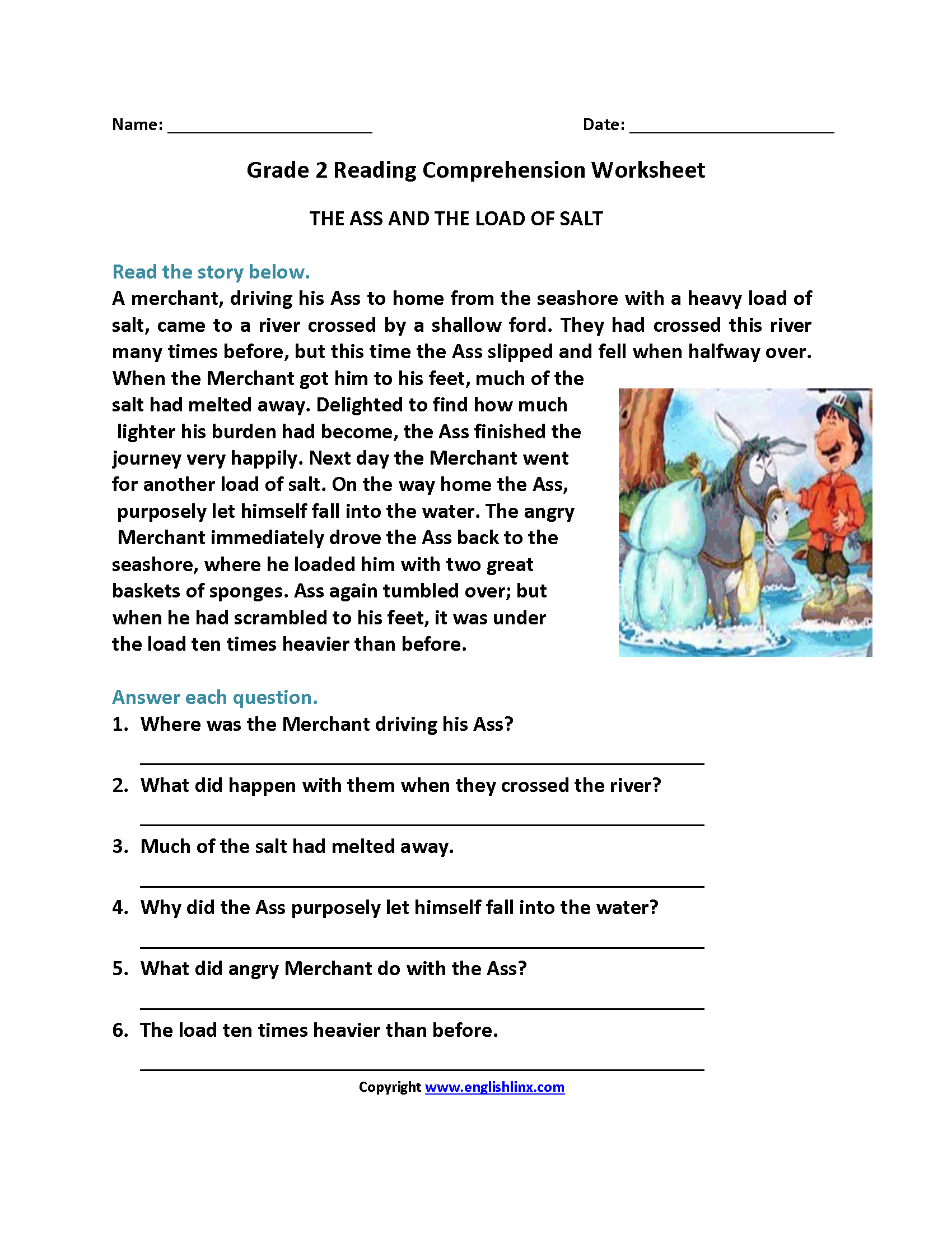 Reading Comprehension Worksheets For Grade 5 About Water