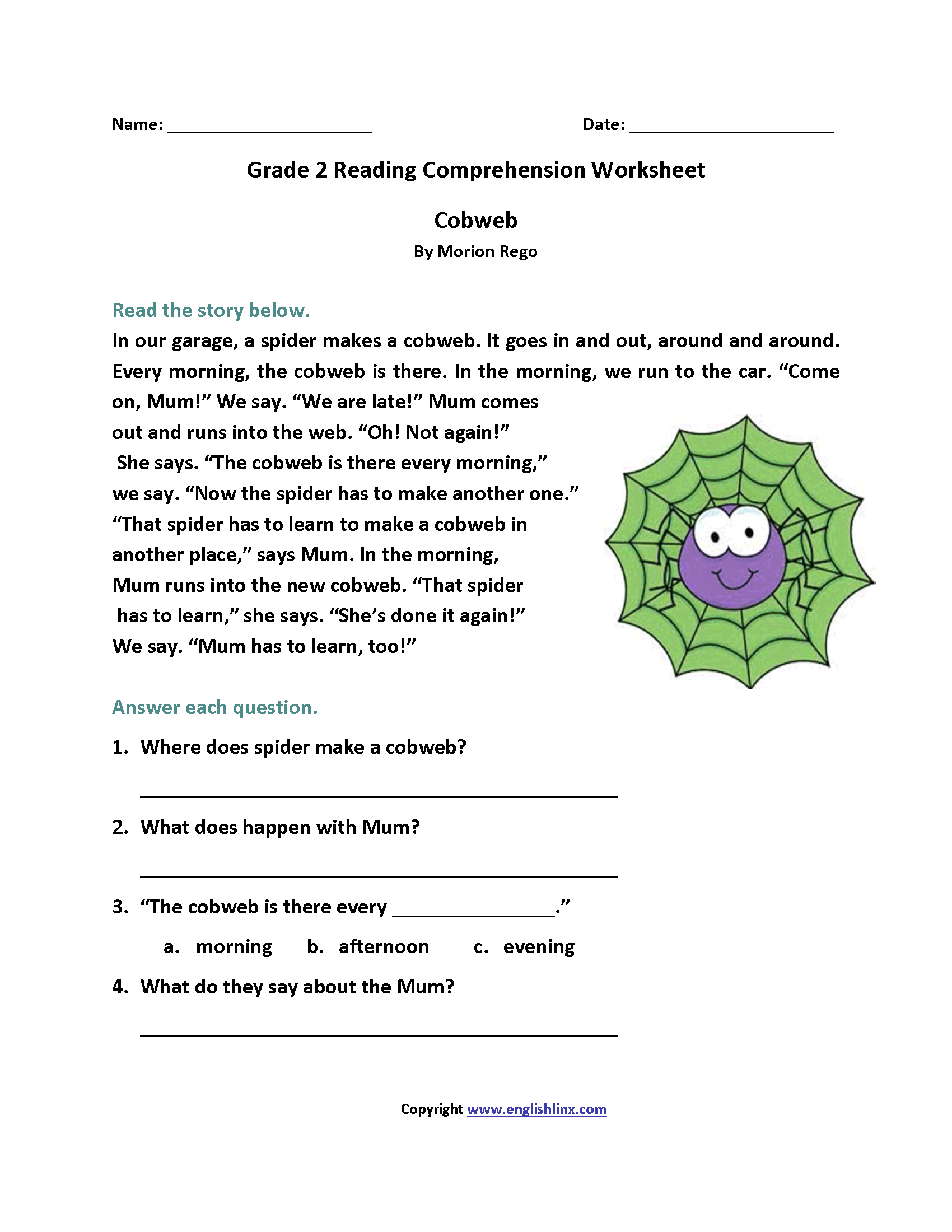 Worksheets Reading Comprehension Worksheets 2nd Grade