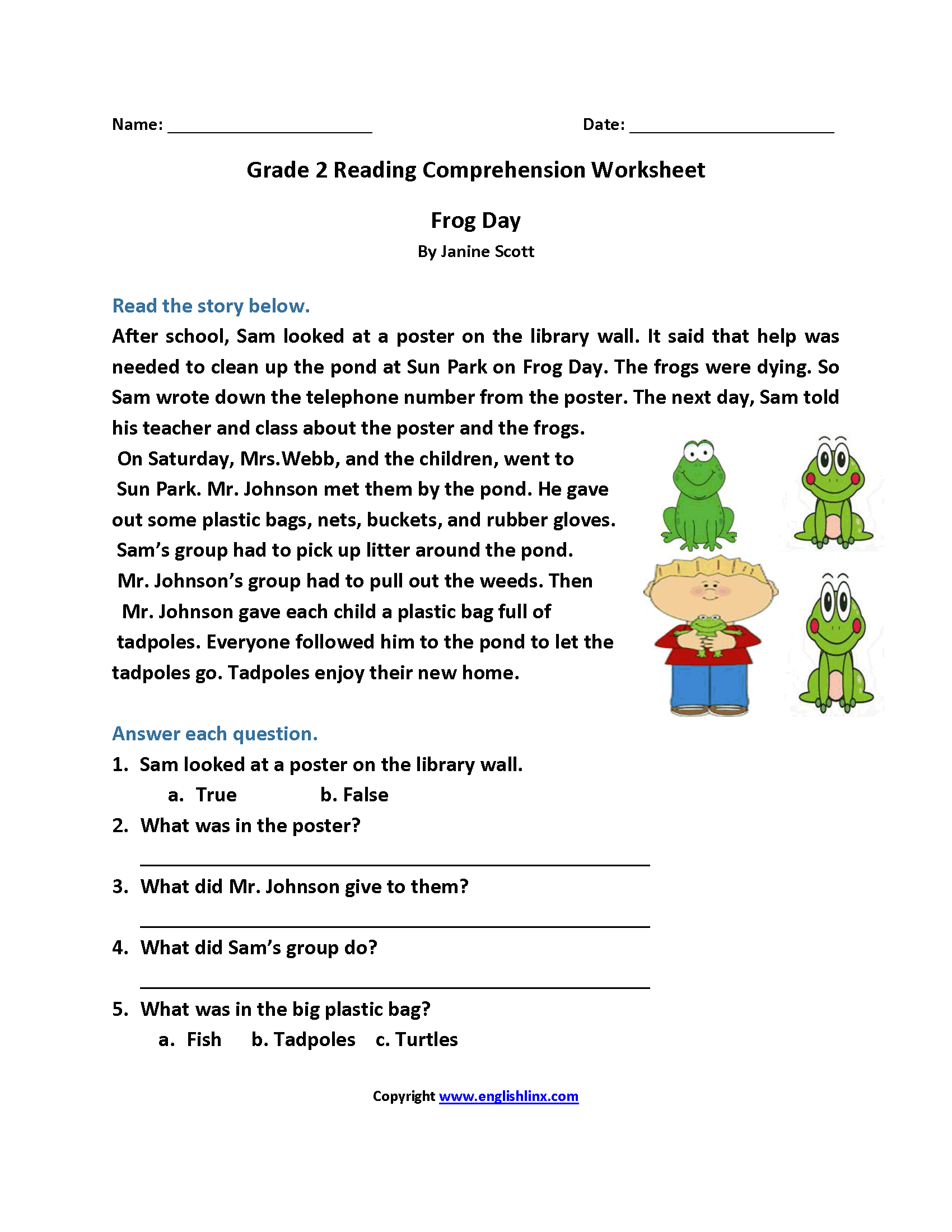 Reading Comprehension Worksheets 2nd Grade