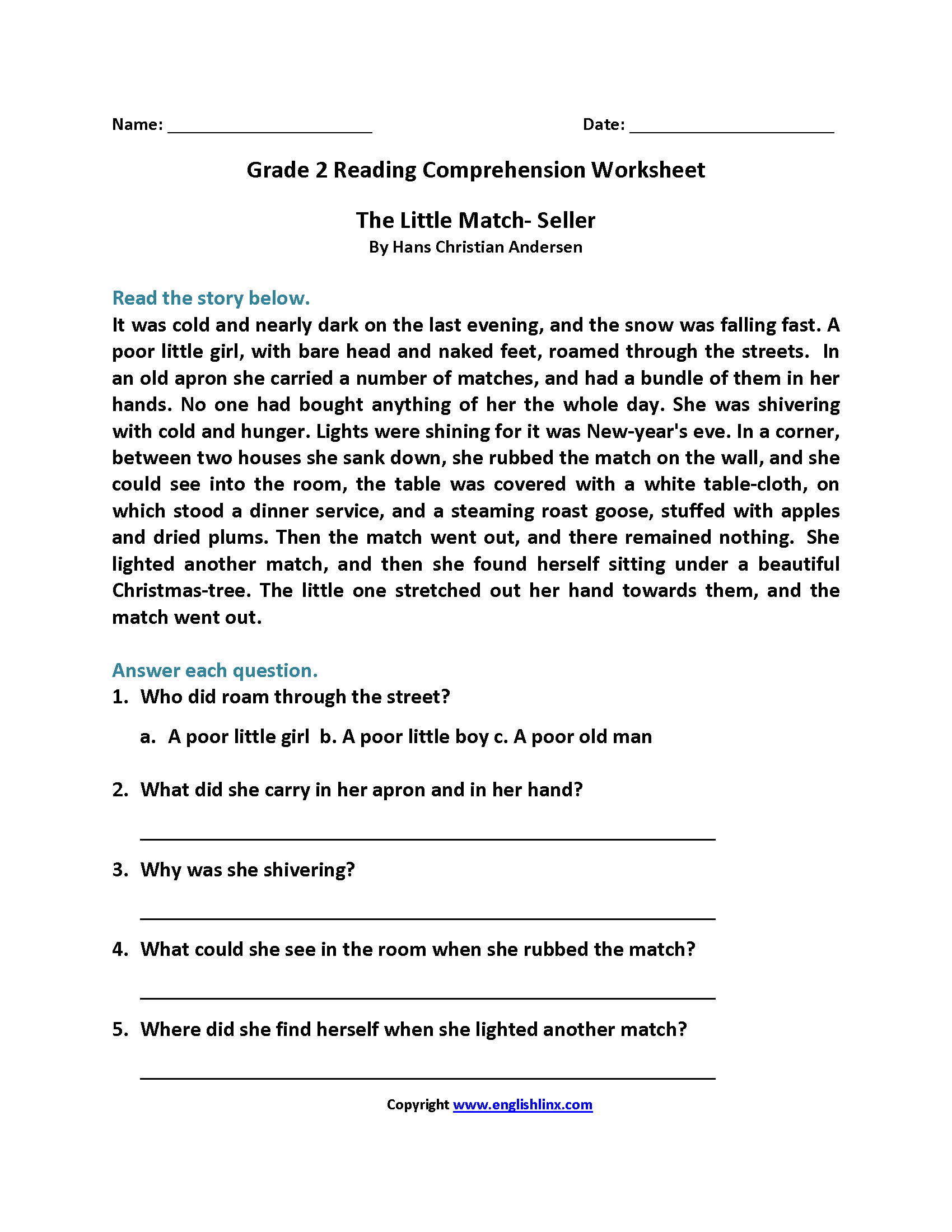 Worksheets Second Grade Comprehension Worksheets