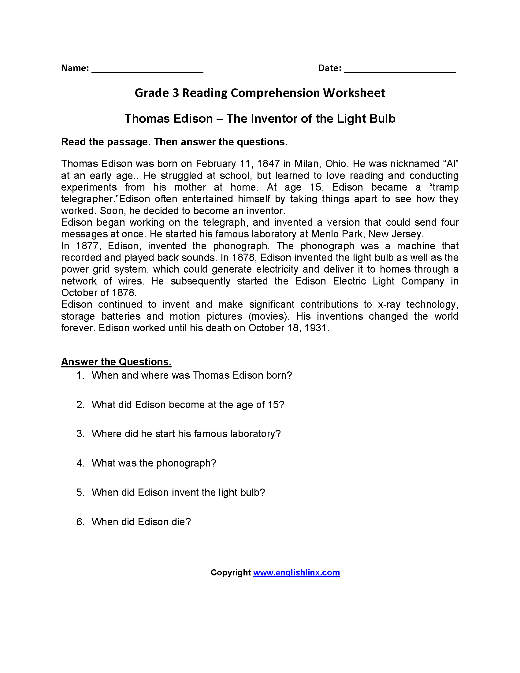 Worksheet Reading Comprehension Worksheet 3rd Grade