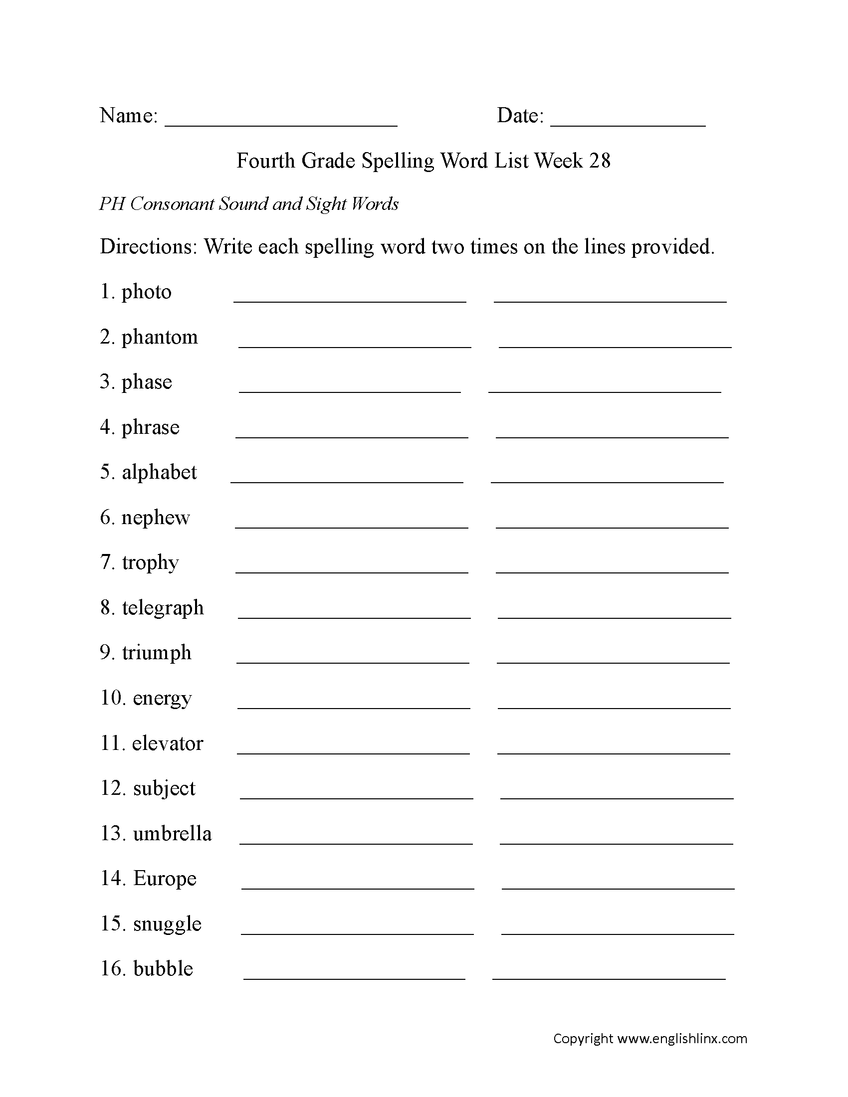 Spelling Worksheets