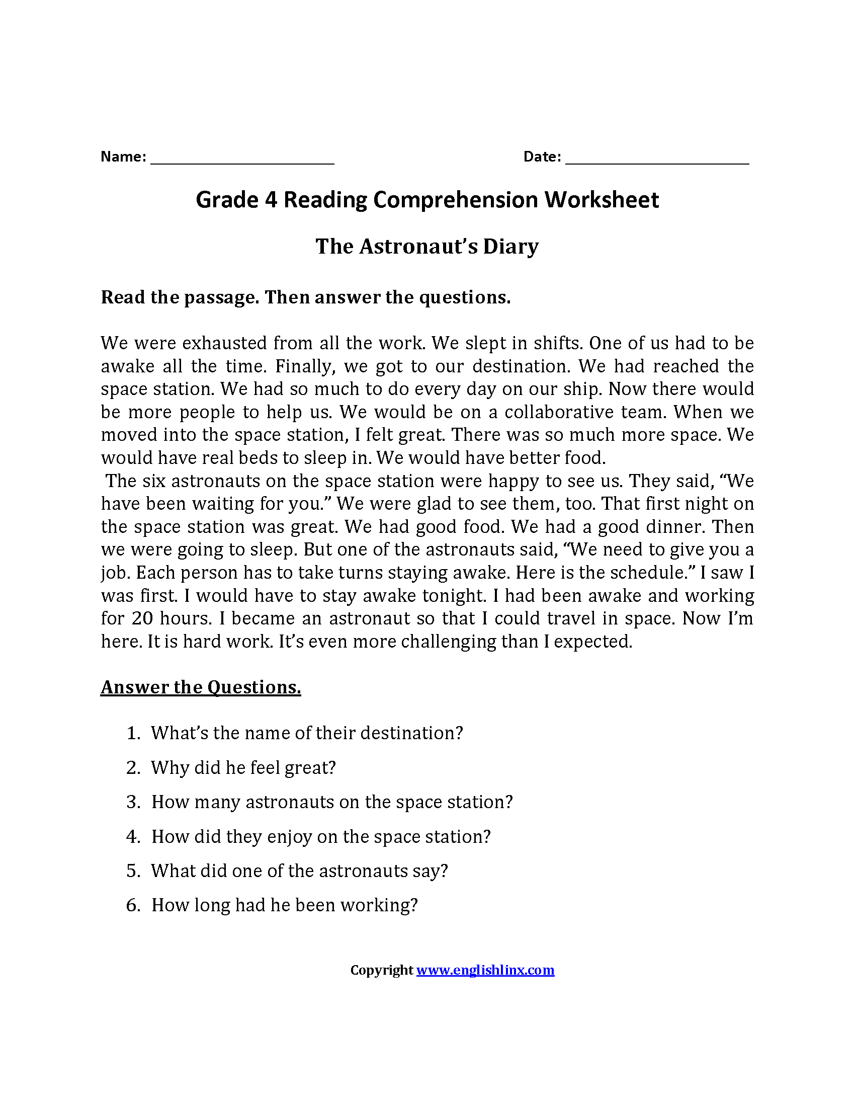 Comprehension Passages For Grade 3