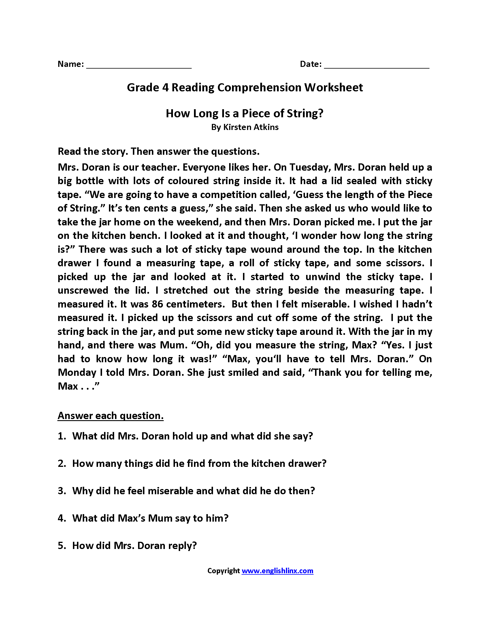 Printables Of Comprehension Activities For 4th Grade