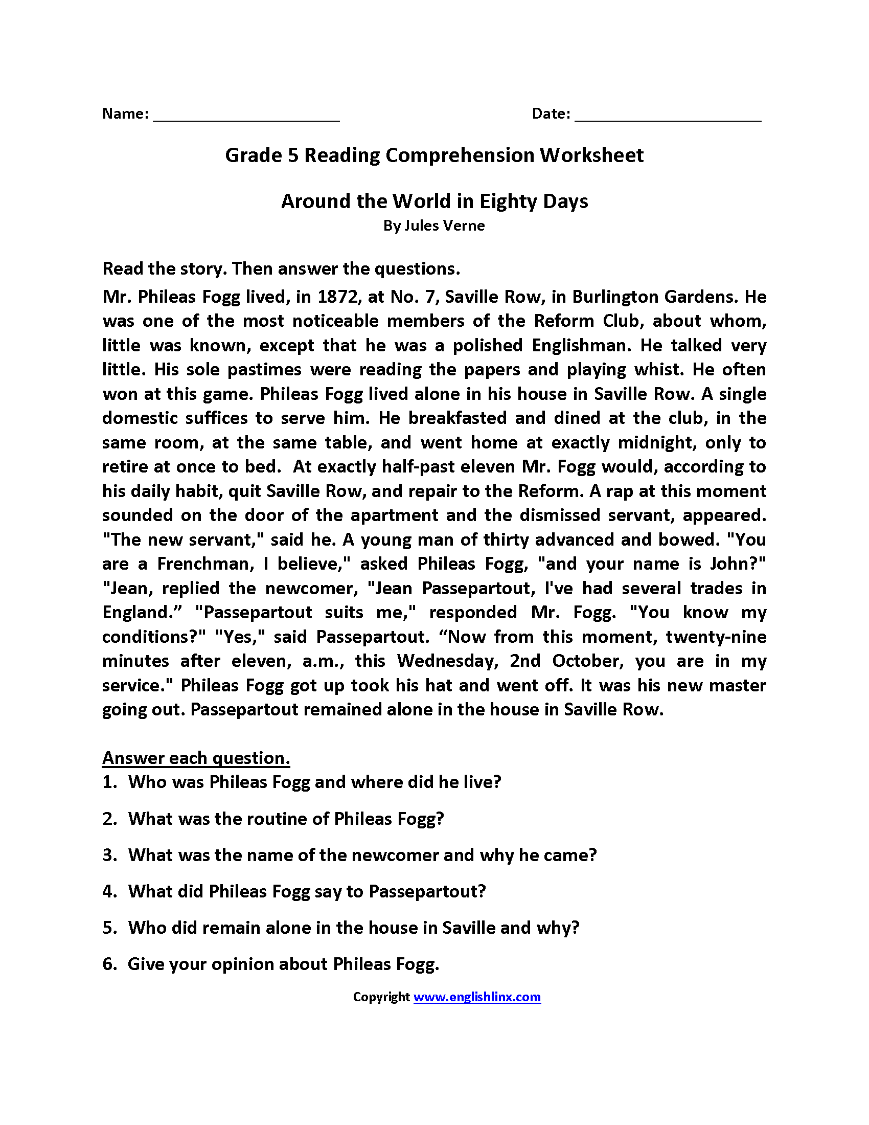 Fifth Grade Reading Prehension Worksheets