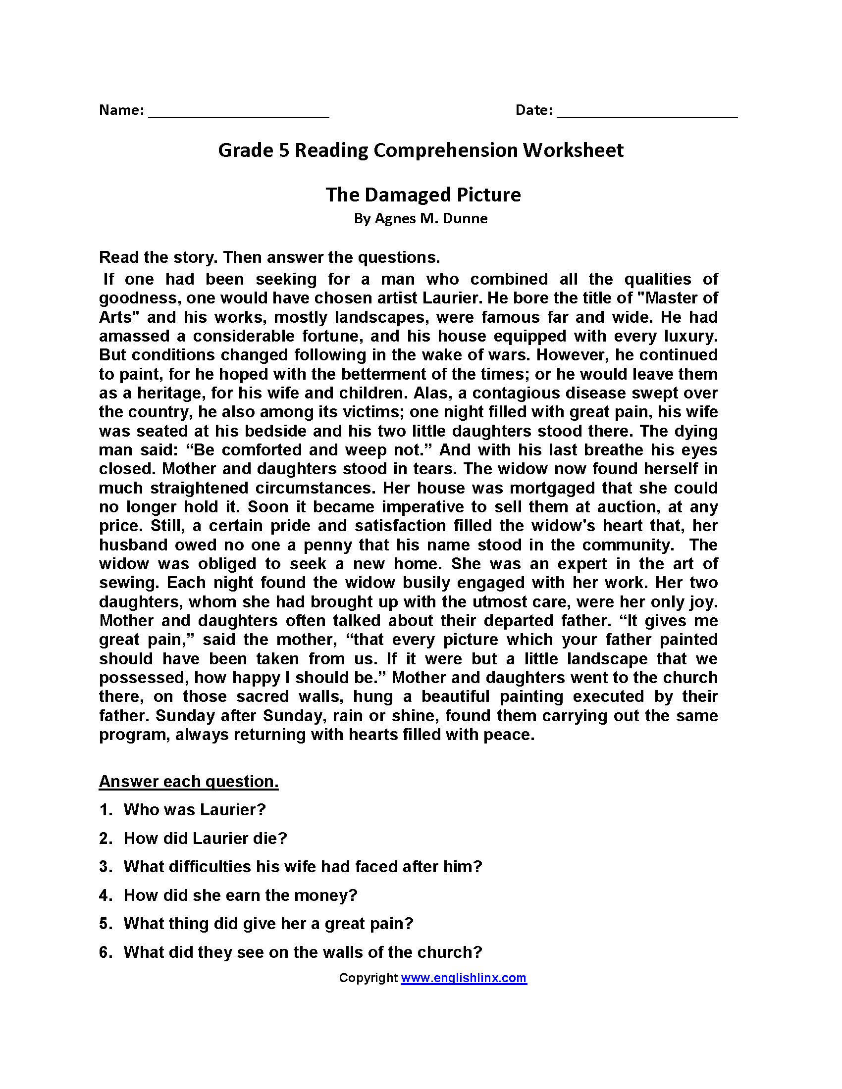 Reading Comprehension 5th Grade Worksheet