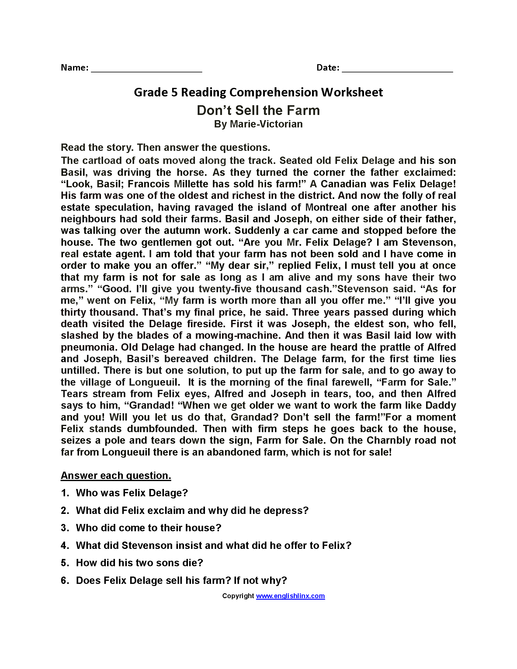 Worksheets Reading 5th Grade Worksheets Cheatslist Free
