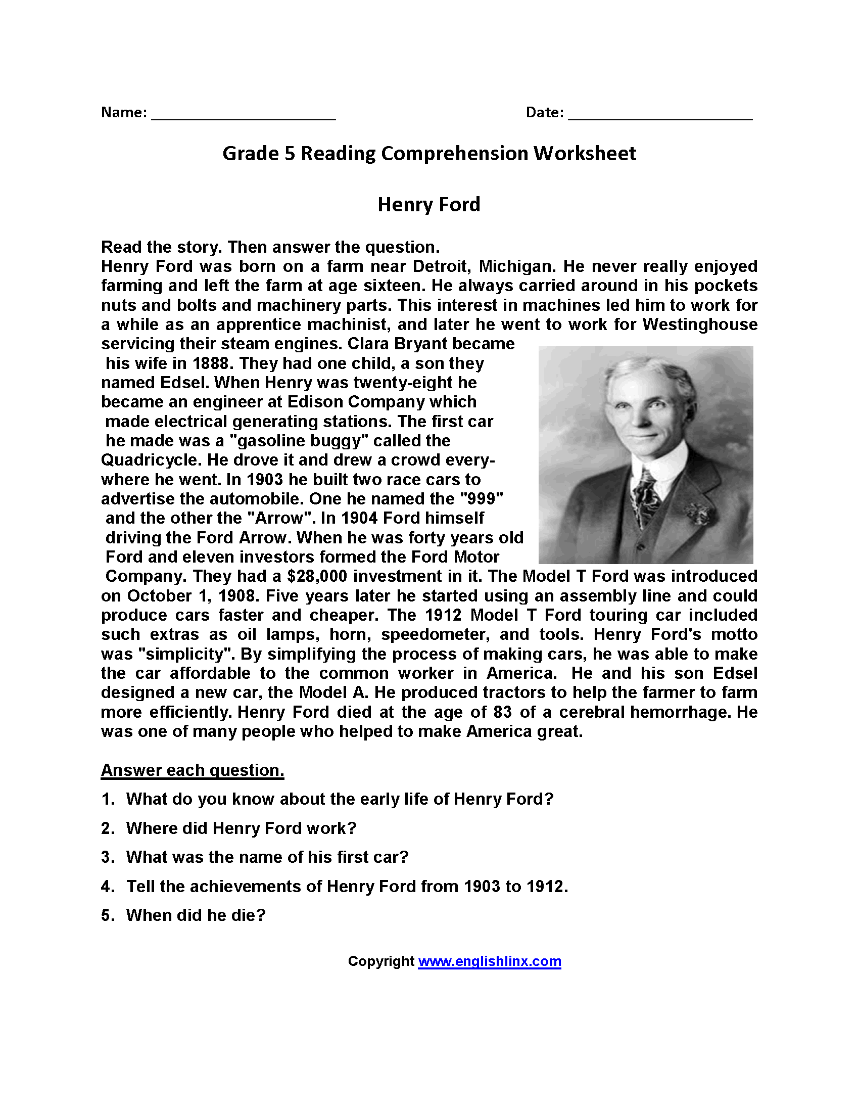 Fifth Grade Reading Comprehension Worksheets