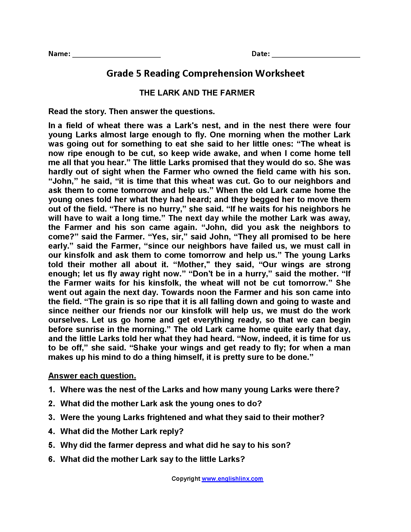 Worksheets English Stories With Comprehension Questions