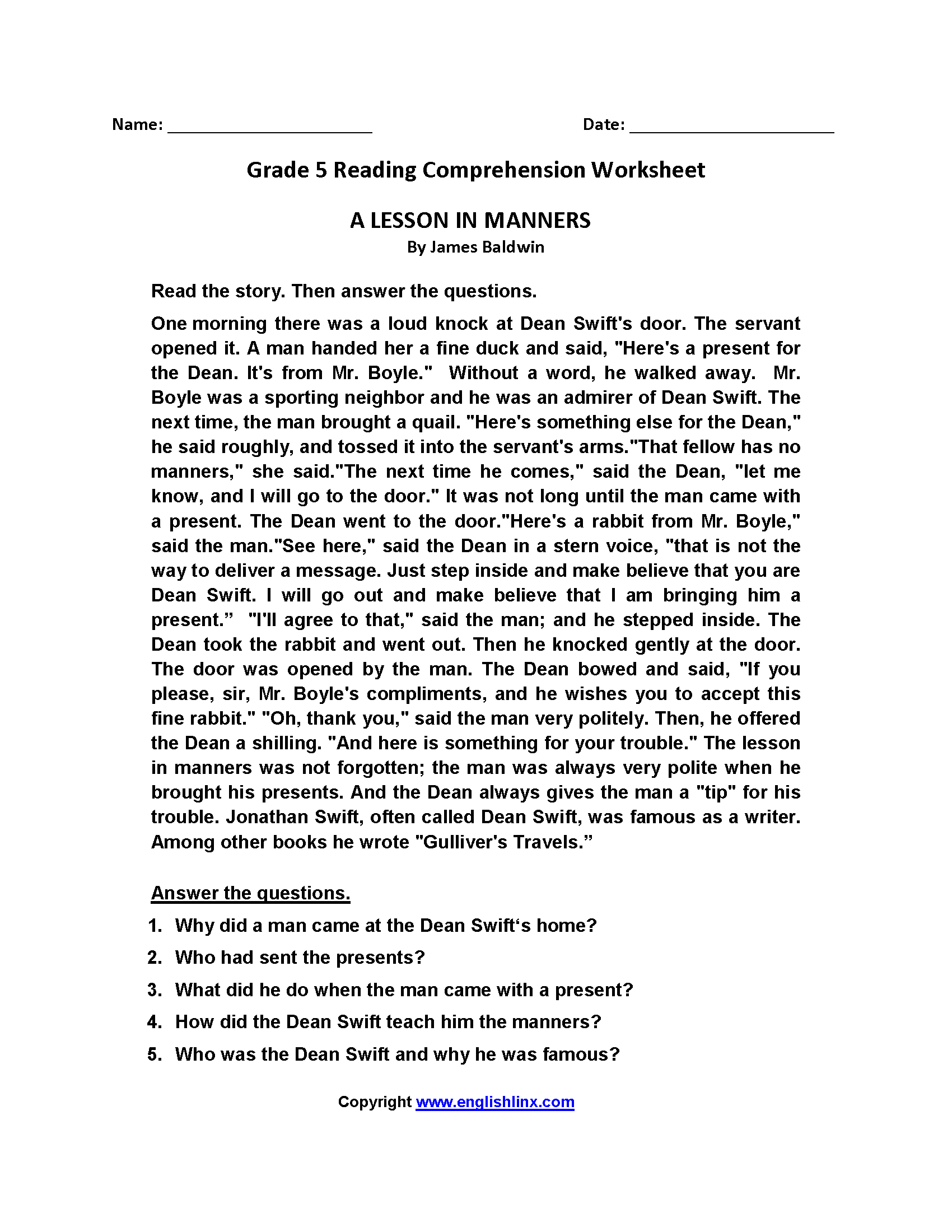 Worksheets Reading Worksheets Grade 5 Waytoohuman Free