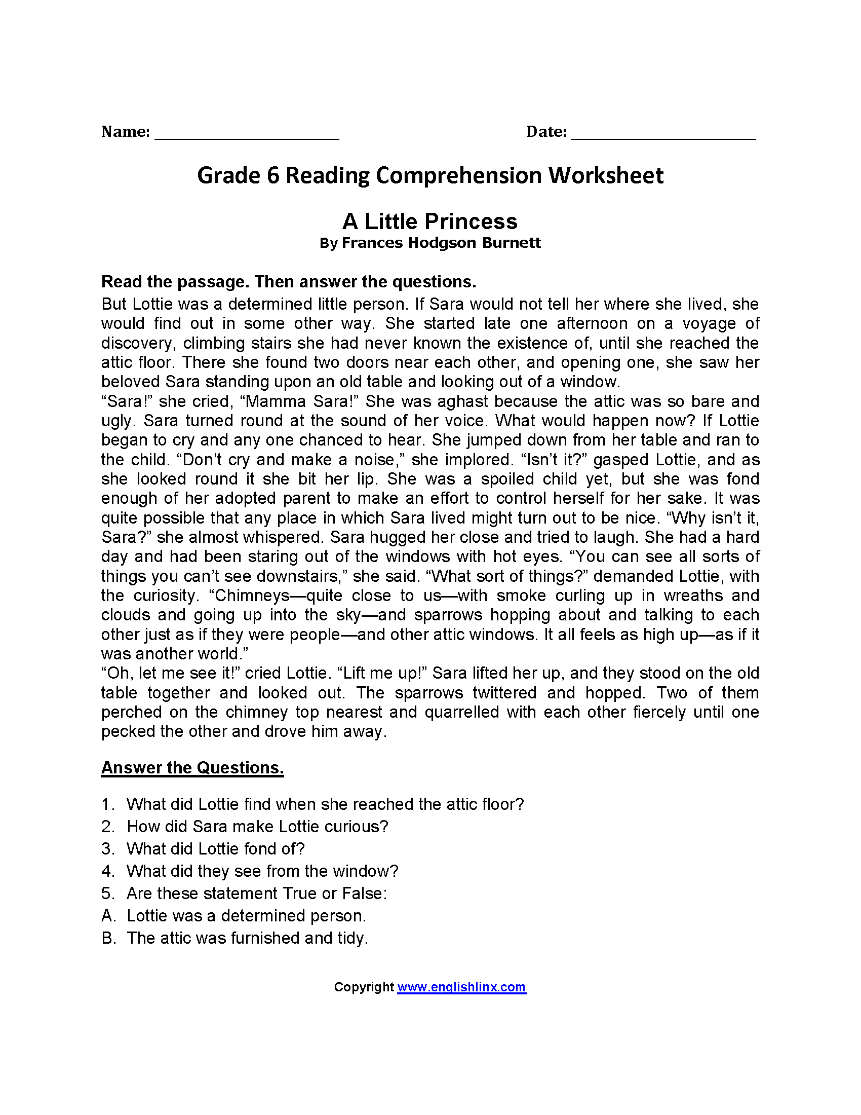 Comprehension Worksheet 6th Grade