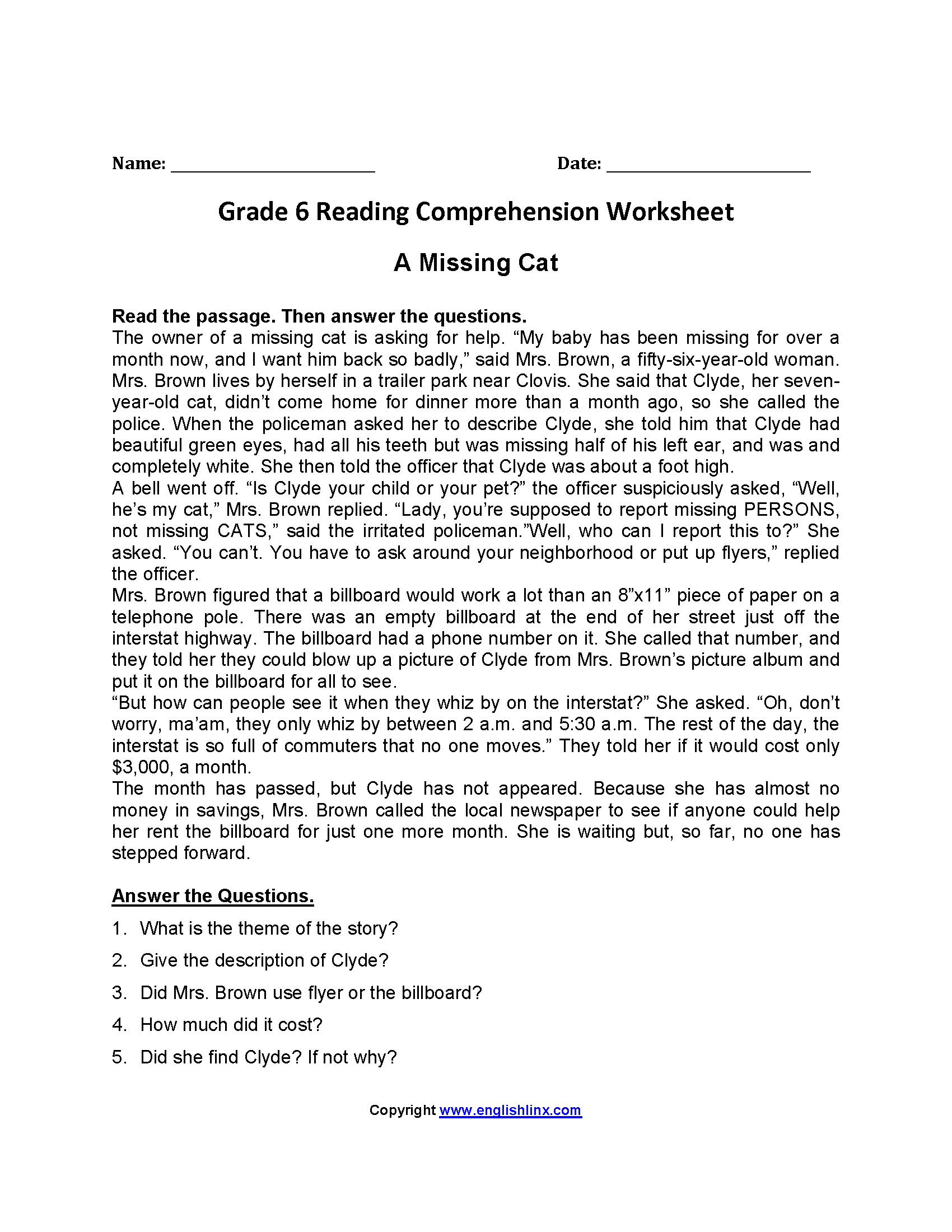 Worksheet Reading Comprehension Worksheets 6th Grade Grass Fedjp Worksheet Study Site