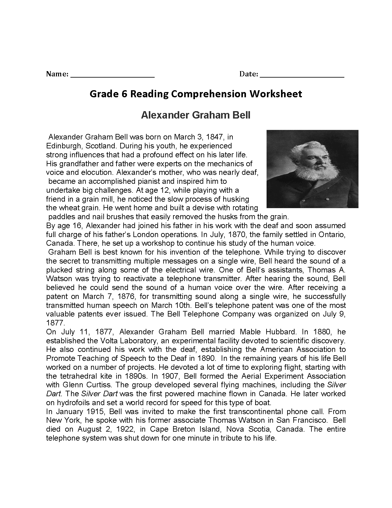 Worksheet Free Printable 6th Grade Reading Comprehension Worksheets Grass Fedjp Worksheet