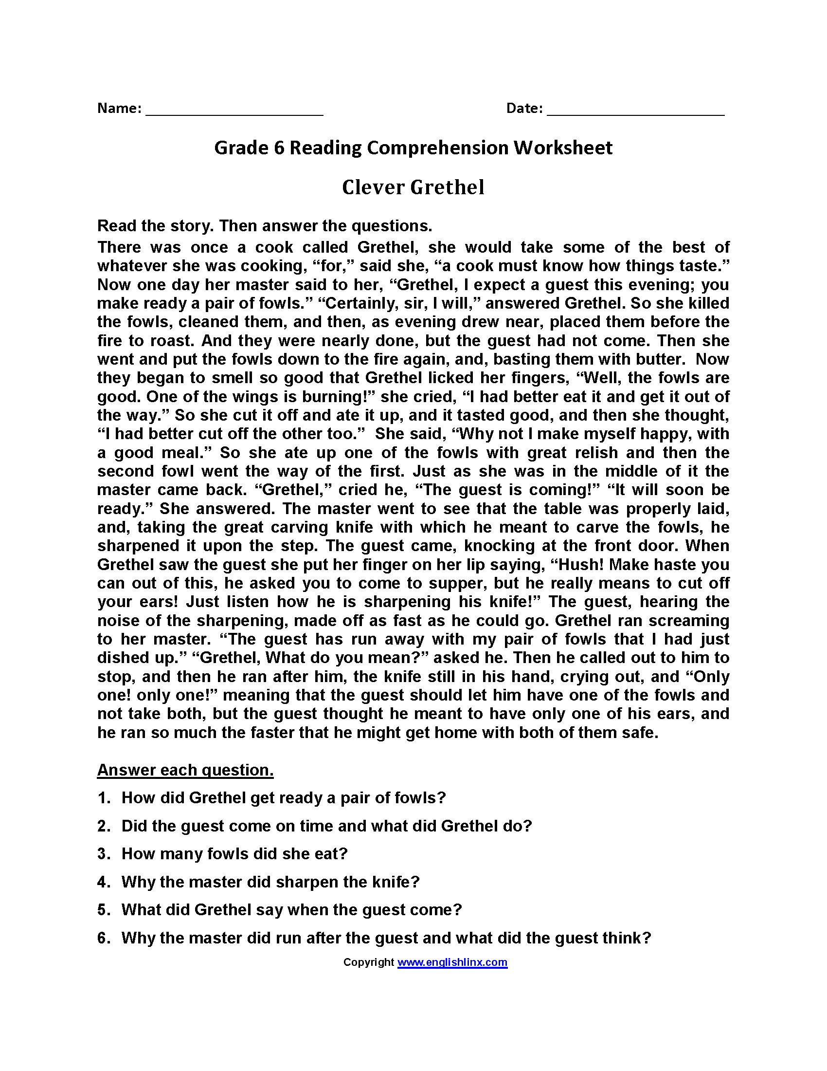 Printable Worksheets 6th Grade Reading