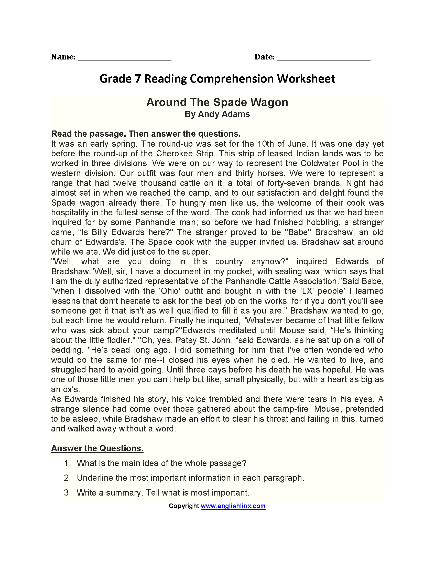 Worksheet Reading Worksheets For 7th Grade Grass Fedjp Worksheet Study Site