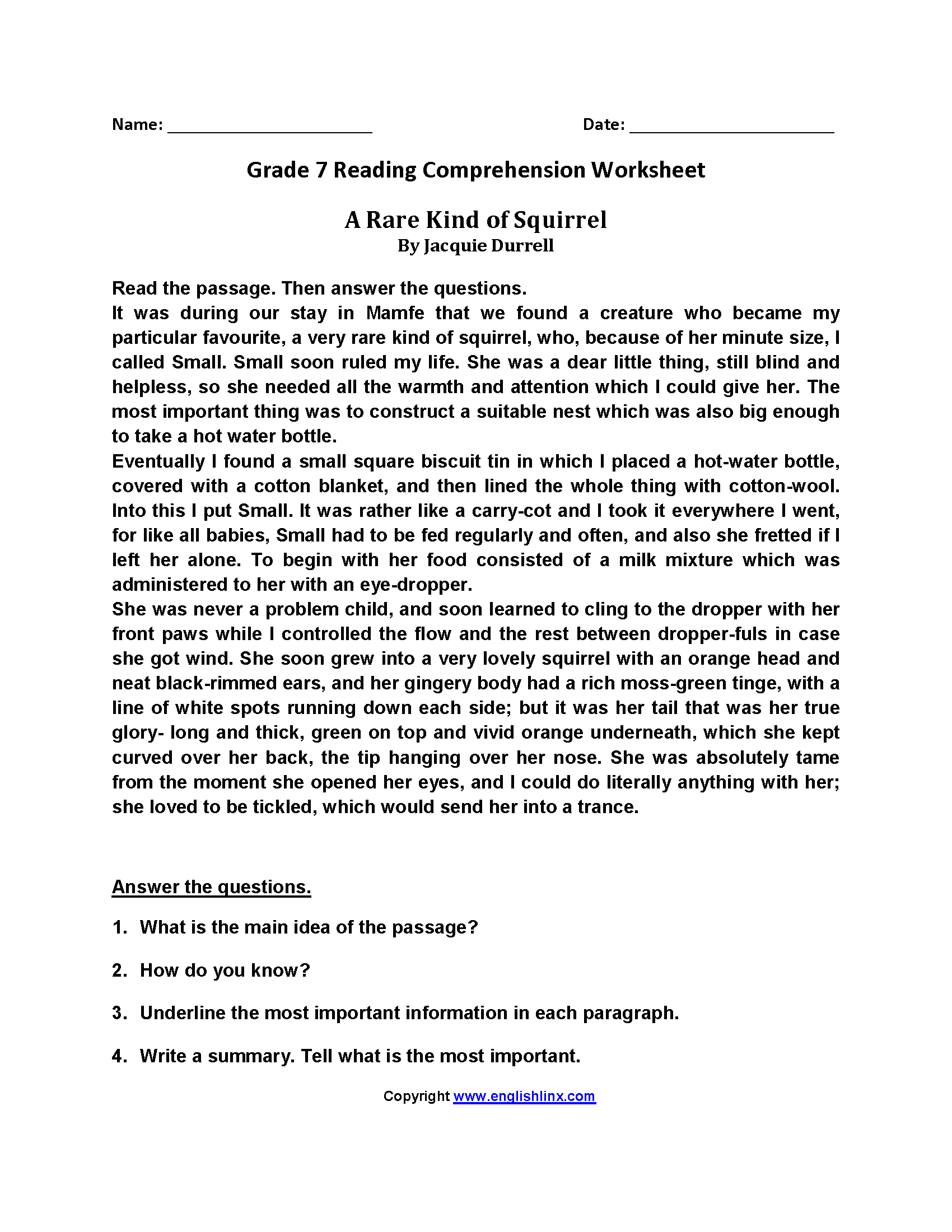 Reading Comprehension Worksheet Year 7