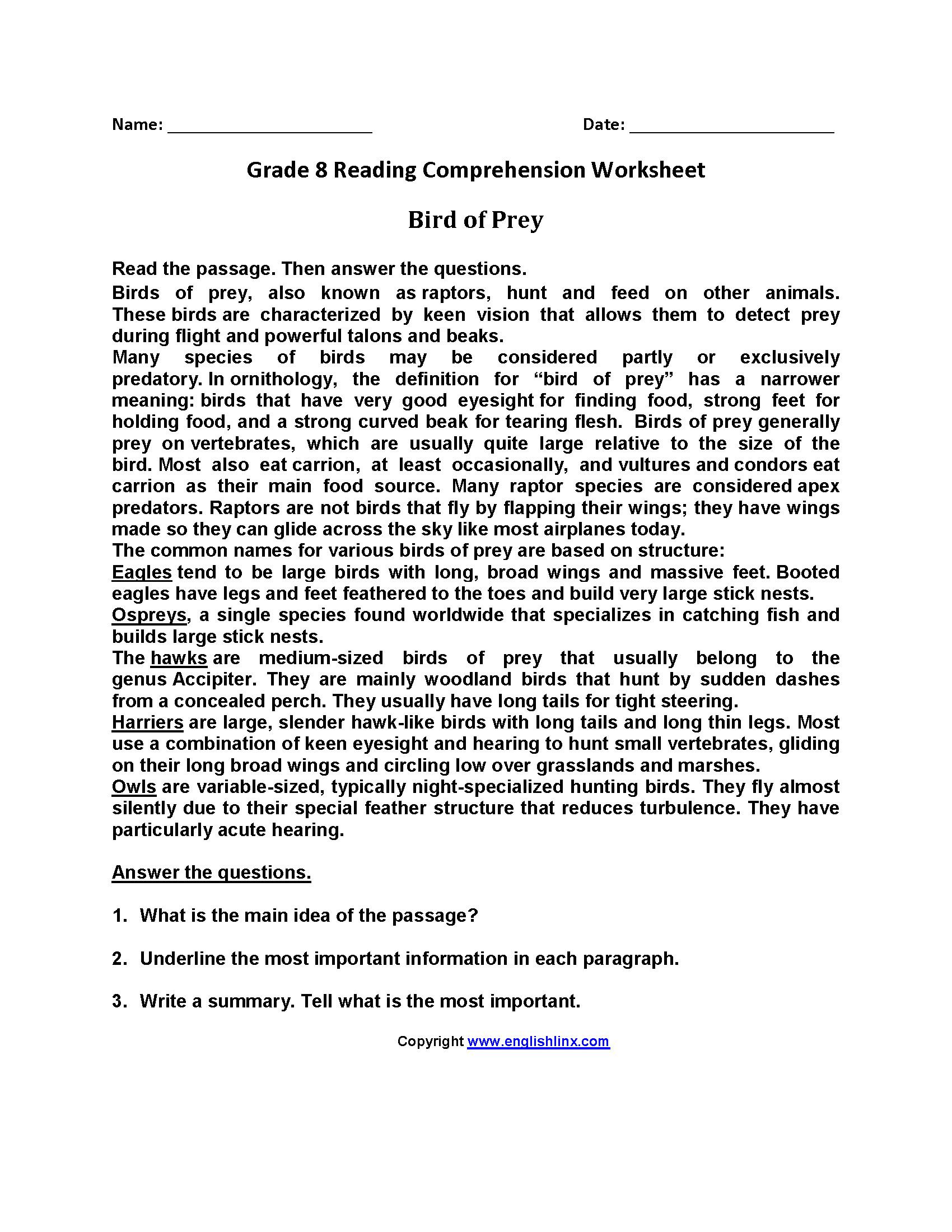 Free 8th Grade Reading Comprehension Worksheet