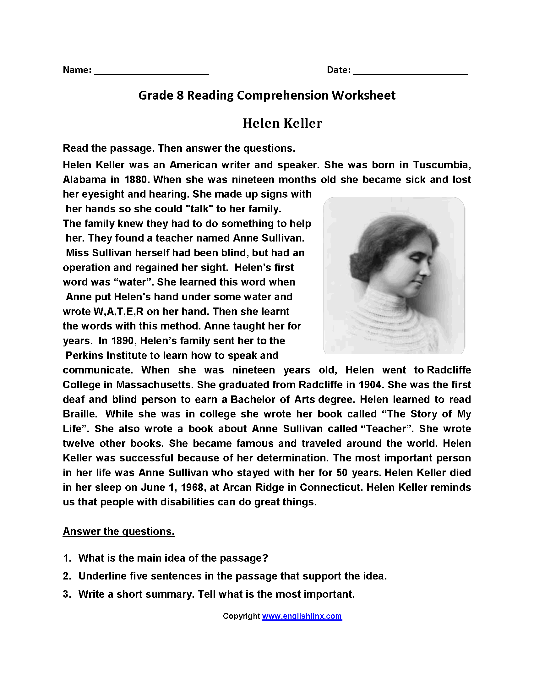 Helen Keller Worksheets Preschool Helen Best Free