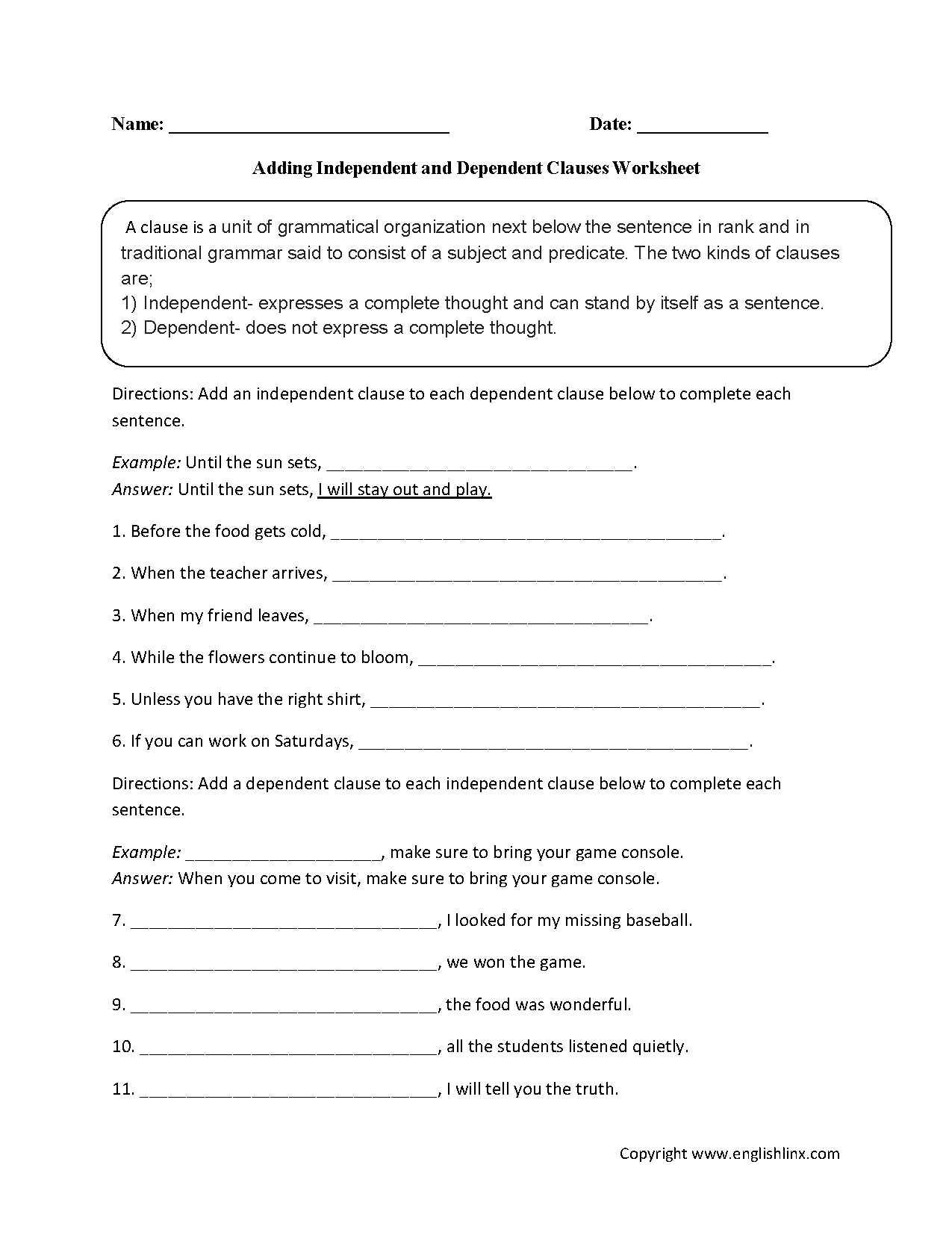 Adding An Independent Clause Worksheet Englishlinx