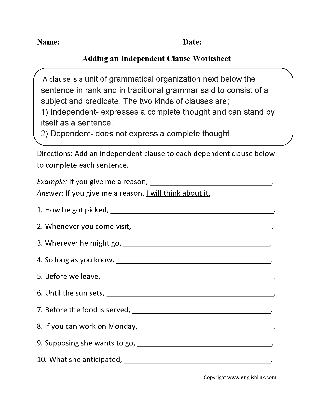 Drop In Clauses Worksheet