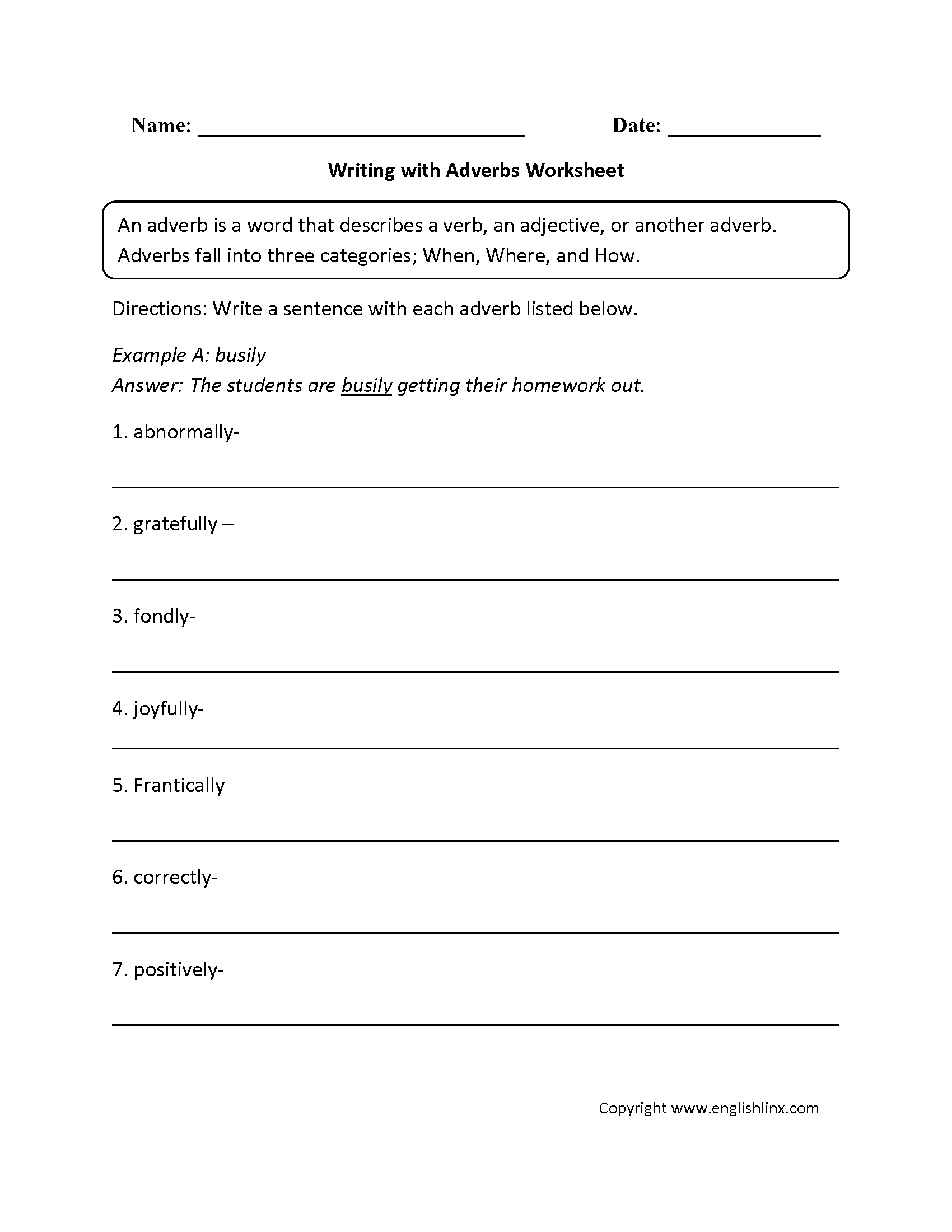 Adverbs Free Worksheets