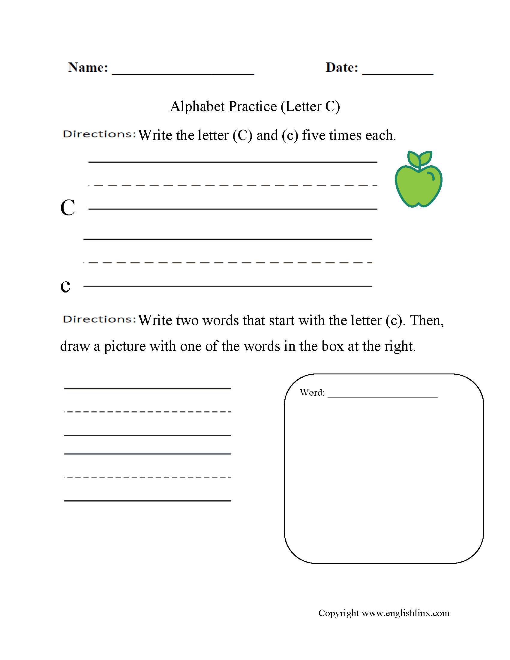 Beginner Alphabet Worksheets