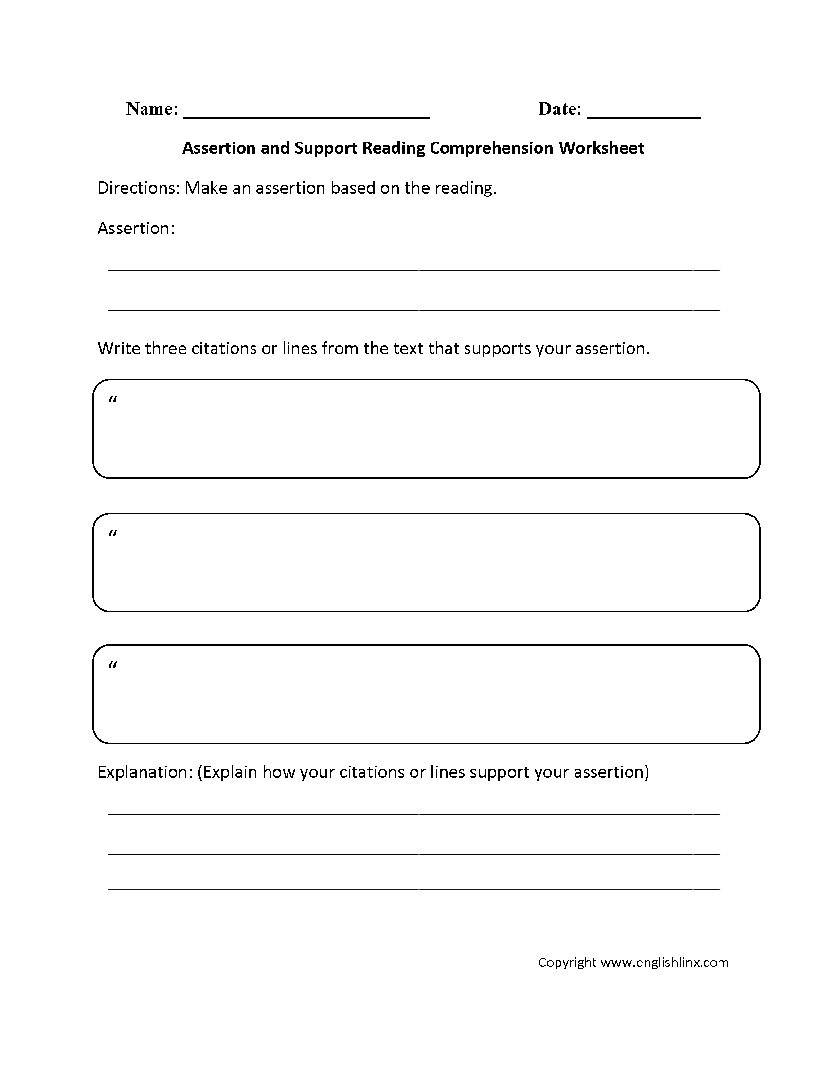 Reading Comprehension Essay Worksheets