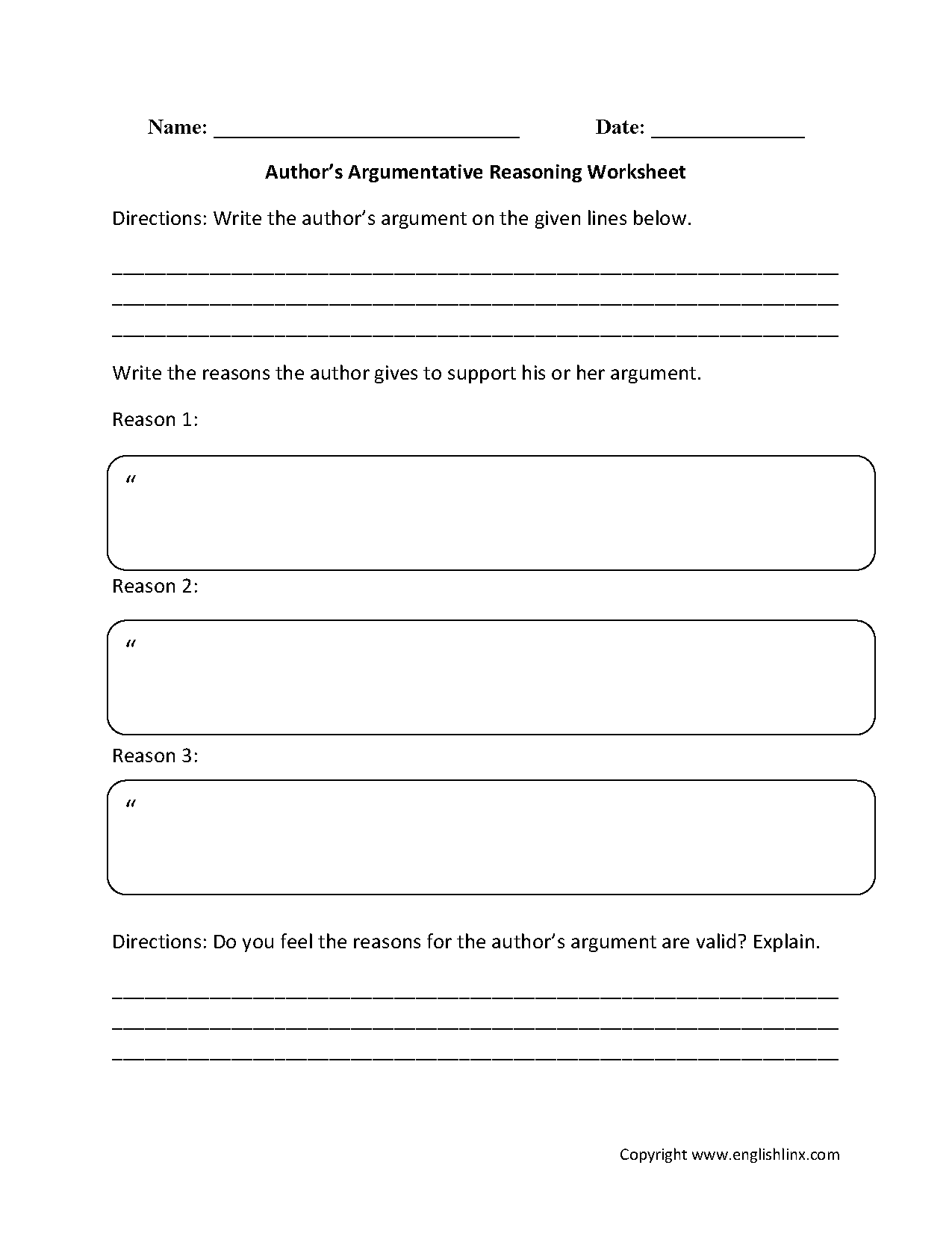 Claim Evidence Reasoning Worksheet
