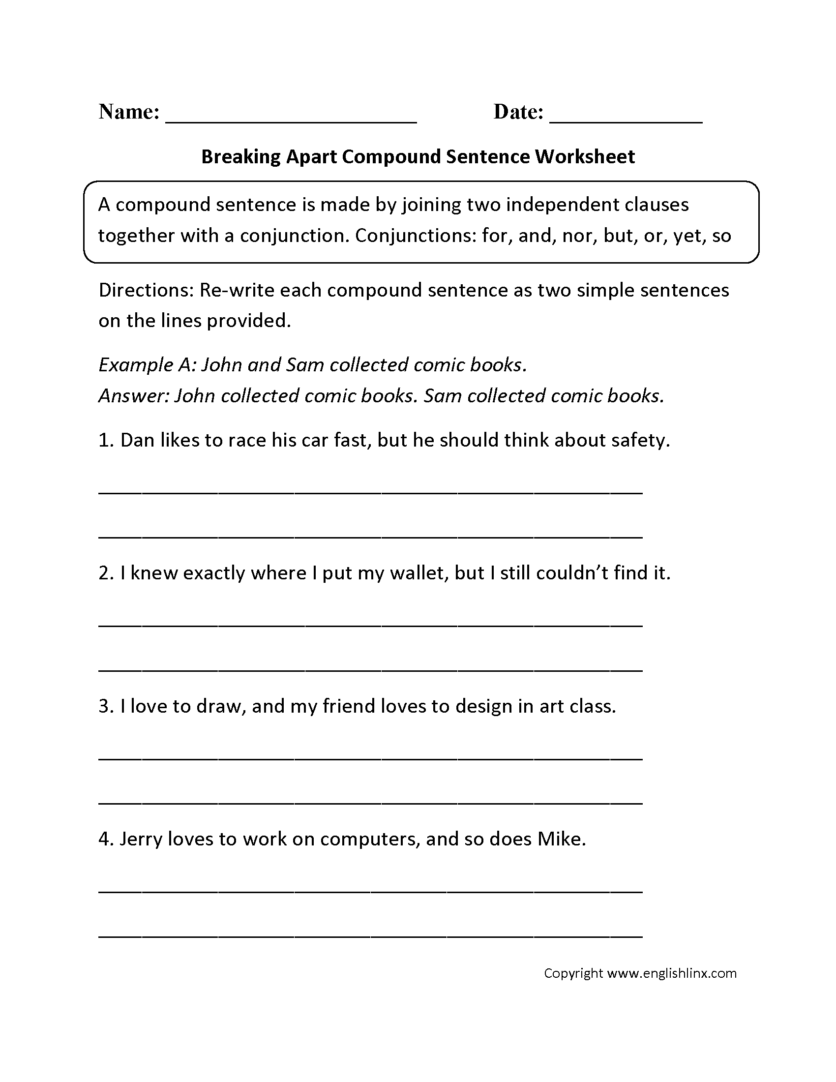 Sentence Variety Worksheet