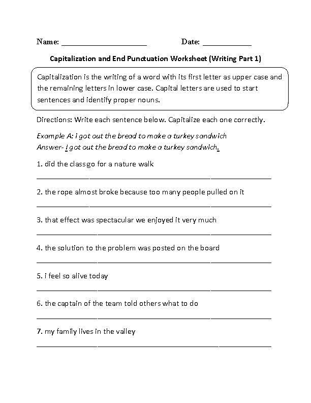 Capitalization Worksheets Capitalization And End