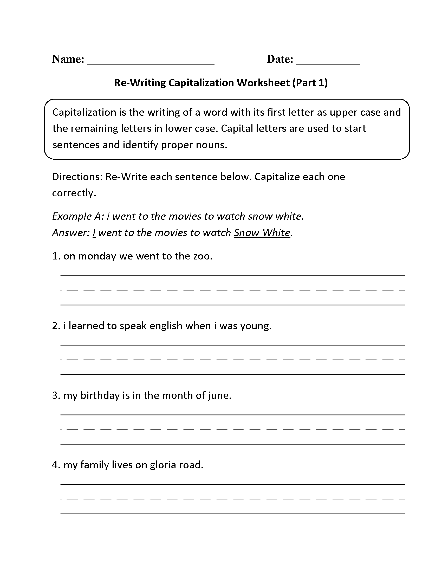 Capitalization Worksheets